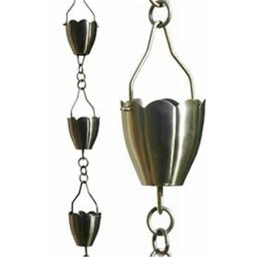 Patina Products R267H Brushed Stainless Flower Cup Rain Chain - Half Length