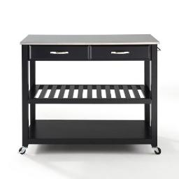 Crosley Stainless Steel Top Kitchen Cart/Island With Optional Stool Storage in Black Finish