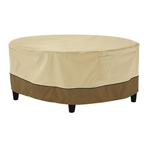 Classic Accessories 55-856-041501-00 Large Ottoman Table Round Cover, Pebble - Case of 10