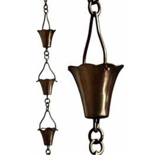 Patina Products R259H Antique Copper Fluted Cup Rain Chain - Half Length