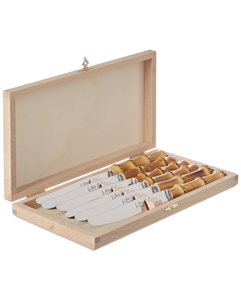 Jean Dubost Bamboo 6pc Knife Set Clasp Box