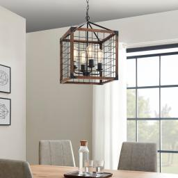 BELLEZE Metal and Wood Chandelier Basked Pendant Four Lights Brown Lamp Shade Industrial Rustic Ceiling Lamp Caged Light