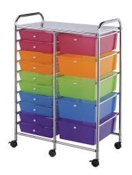 Alvin sc15mcdw storage cart 15-drawer (standard and deep) multi-colored