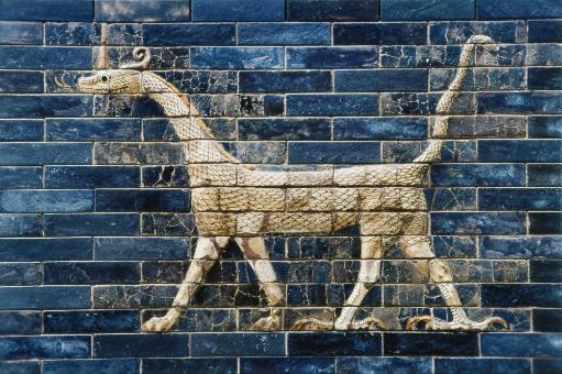Babylon: Ishtar Gate 600 B.C. /Nglazed Enamel Brick 'Sirrush' Dragon From The Ishtar Gate Of Babylon, C600 B.C. Poster Print by Granger Collection