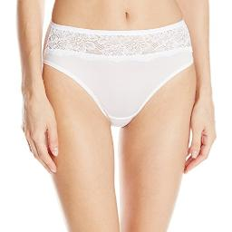 Bali Women's One Smooth U Comfort Indulgence Satin with Lace, White, Size 7.0