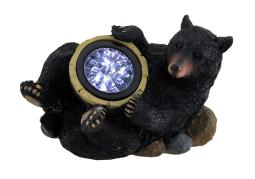Lazy Black Bear w/Solar Acorn Light Statue