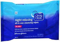 Clean And Clear Night Relaxing All-in-one Cleansing Wipes - 25 Ct, Pack Of 4