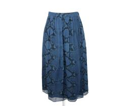 Burberry Women's Mineral Blue Silk Pleated Skirt With Snake Print 4030393 1004