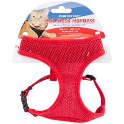 Comfort Soft Adjustable Mesh Cat Harness-red
