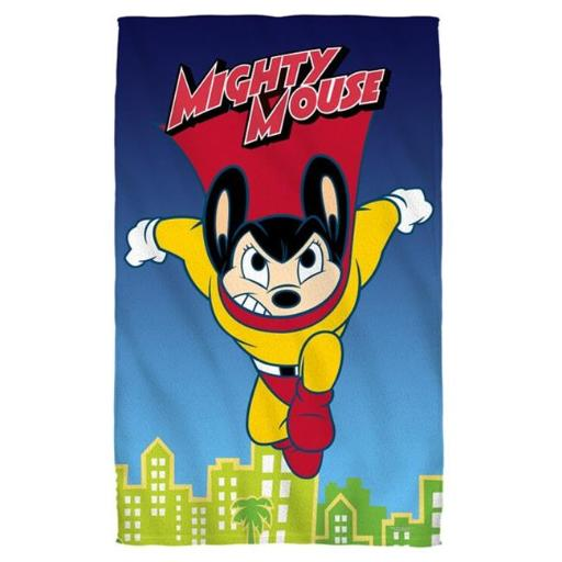 Trevco CBS1492-BTW1-16x24G Mighty Mouse-City Watch - Golf Towel With Grommet, White - Golf 16 x 24 in.