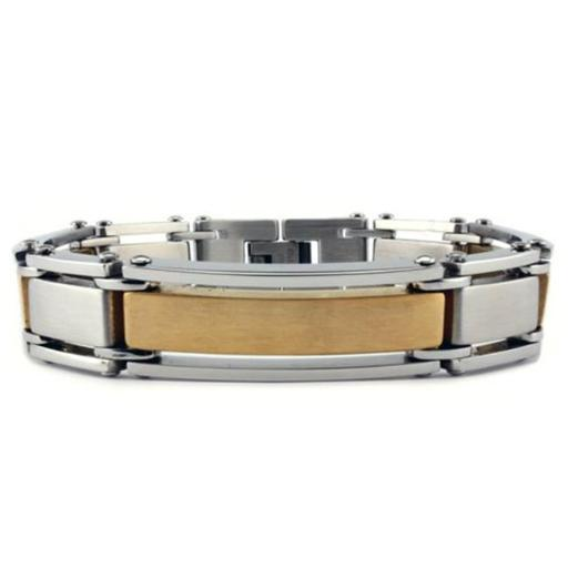Stainless Steel Mens Bracelet with Gold Plated