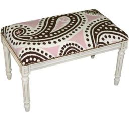 123 Creations C821WBC Paisley-Brown & Pink Needlepoint Bench