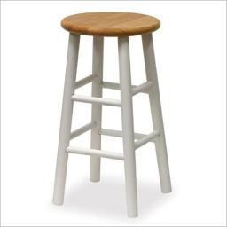 Winsome 53784 Natural & White Beechwood BAR STOOL 24 Inch ASSEM BEVEL SEAT 2 PACK