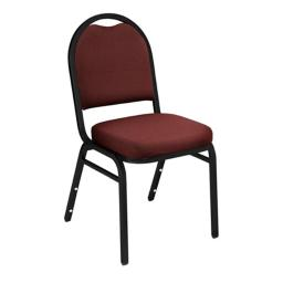 National Public Seating 9258-BT Dome-Back Fabric Upholstered Stack Chair Rich Maroon with Black Santex Frame