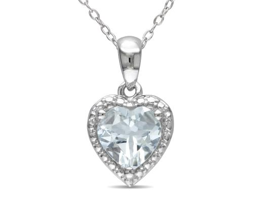 Aquamarine Heart Pendant 1.50 Carat (ctw) in Sterling Silver with Chain