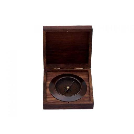 5 in. Antique Copper Admirals Desk Compass with Rosewood Box