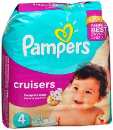 Pampers Cruisers Diapers Size 4, 22-37 lb - 4 packs of 24, Pack of 2