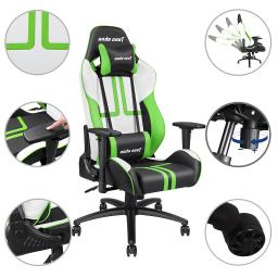 Anda Seat Racing Chair Gaming Recliner Adjustable Swivel Rocker PVC Leather High-back w/ Headrest & Lumbar Cushion