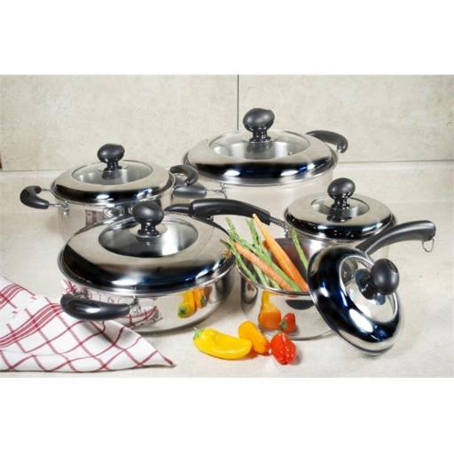 Cook Pro 555 10 PC Stainless Cookware Set with Stainless and Glass Combo Lids