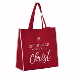 Cb Gift 143038 13 In. Square & 6 In. Gusset Nylon Tote Bag With Christmas Begins