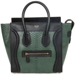 Celine Micro Emerald Green Python Black Leather Handbag