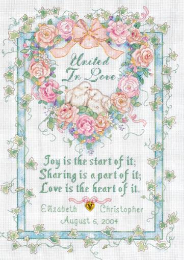 """United In Love Wedding Record Counted Cross Stitch Kit-10""""X14"""" 18 Count IY3OA1OYYUIXM00Y"""