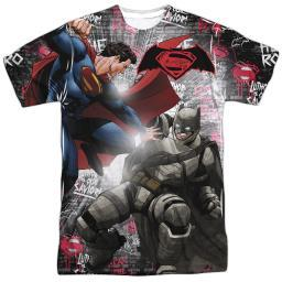 Batman Vs Superman Showdown Mens Sublimation Shirt White Lg