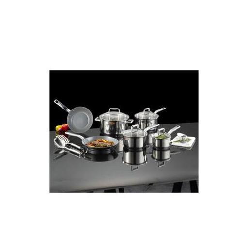 T-Fal 12-Piece Stainless Steel & Ceramic Non-Stick Cookware Set