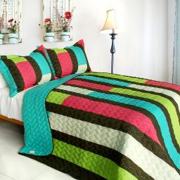May Flower 3PC Vermicelli-Quilted Patchwork Quilt Set (Full/Queen Size)