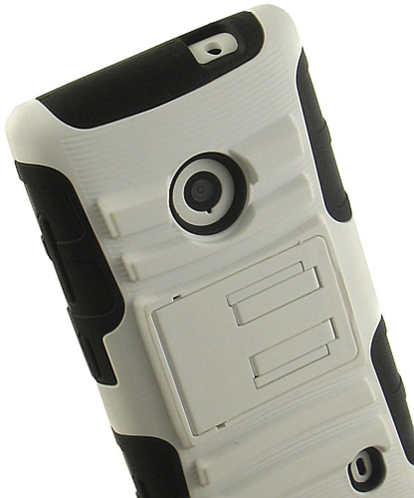 WHITE RUBBER SOFT SKIN HARD CASE STAND BELT CLIP HOLSTER FOR NOKIA LUMIA 521