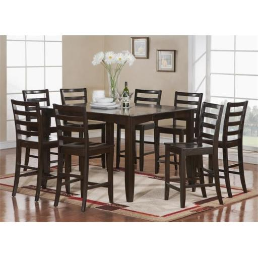 East West Furniture FAIR5-CAP-W 5 Piece Pub Table Set- Square Table and 4 Kitchen Counter Chairs