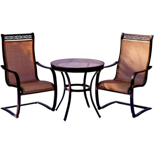 Hanover MONDN3PCSPG Monaco Bistro Set with Spring Sling Chairs & Glass-Top Table - 3 Piece