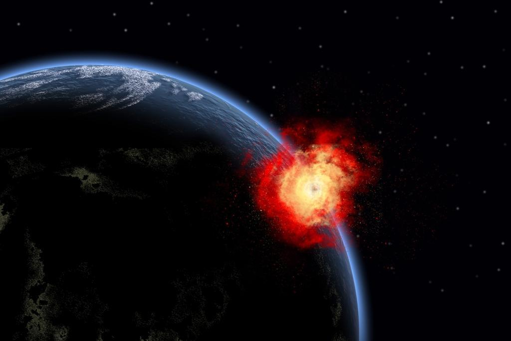 A powerful explosion on Earth's surface as a result of a colliding asteroid impact Poster Print