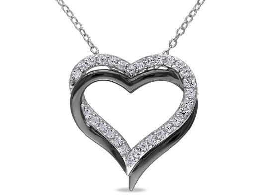 Created White Sapphire 5/8 Carat (ctw) Pendant Necklace in Black Rhodium Plated Sterling Silver With Chain