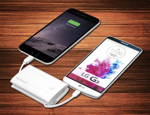 NAZTECH 5000mAh PORTABLE POWER BANK POCKET CHARGER BUILT-IN CABLE FOR CELL PHONE