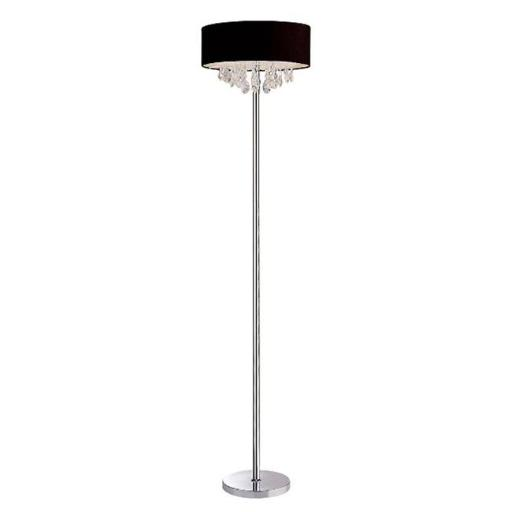All The Rages LF1000-BLK Elegant Designs Trendy Cascading Crystal and Chrome Floor Lamp with Drum Shade, Black
