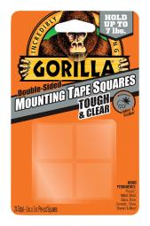 Gorilla 1 in. W x 1 in. L Mounting Squares Clear - Case Of: 6; Each Pack Qty: 4; Total Items Qty: 24