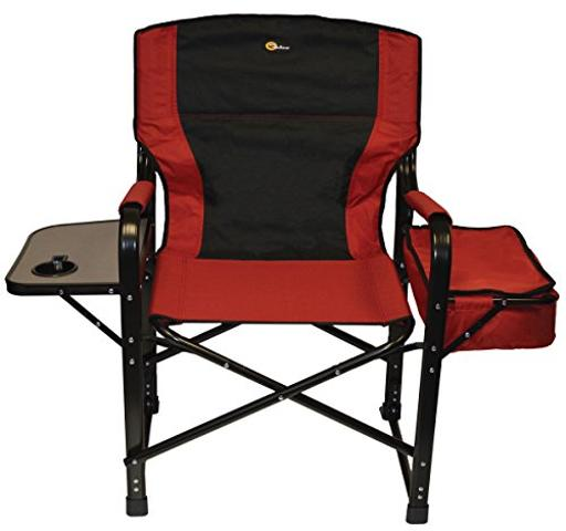 Faulkner 49582 El Capitan Folding Director Chair With Tray And Cooler Bag Burgundy/Black