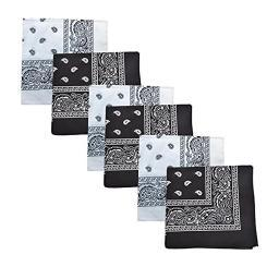 Mechaly Paisley 100% Cotton Bandanas - 6 Pack (Black and White)
