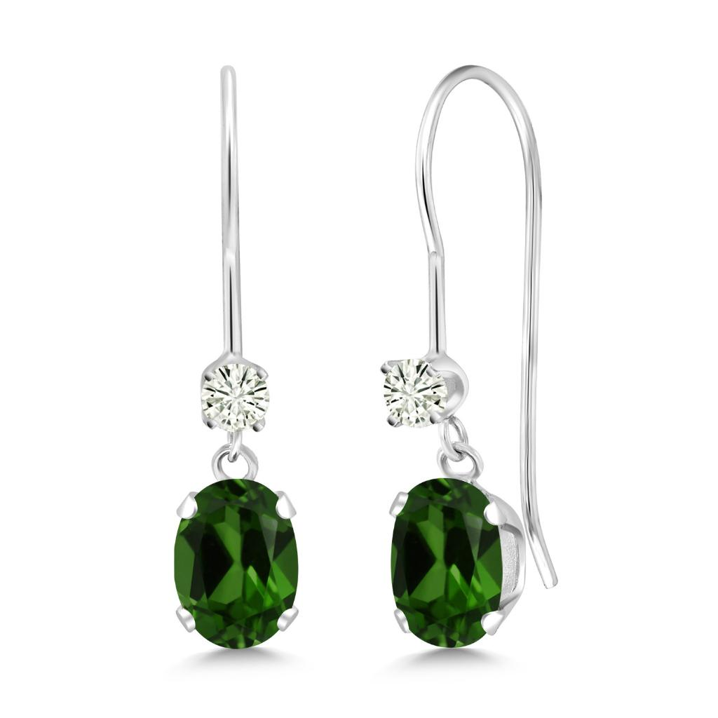 14K White Gold Dangle Earrings Oval Green Chrome Diopside and Forever Classic Created Moissanite 0.12ct (DEW) by Charles & Colvard