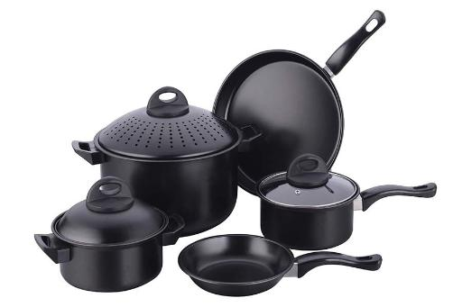 Imperial Home 8-Piece Carbon Steel Cookware Set - Black(Pack Of 4)