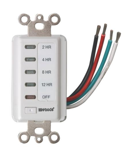 Woods 59014 In-wall Switch Electronic Timer, 12 Hour, White
