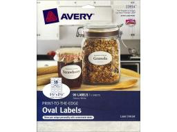 Avd22814 avery label print-to-the-edge oval glossy wht90pc