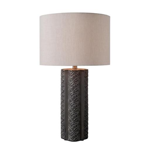 Kenroy Home 33160GRY 10 x 27 in. Filigree Table Lamp - Glossy Gray Ceramic