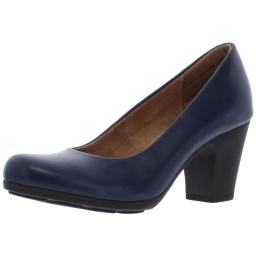 Comfortiva Womens Noxi Leather Comfort Insole Round Toe Heels
