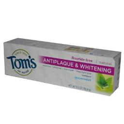 Tom's of Maine Natural Antiplaque and Whitening Fluoride Free Toothpaste, Spearmint, 5.5 Ounce