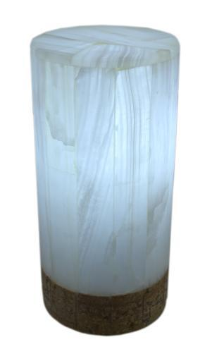 White Marble Artisan Hand Crafted Cylinder Lamp
