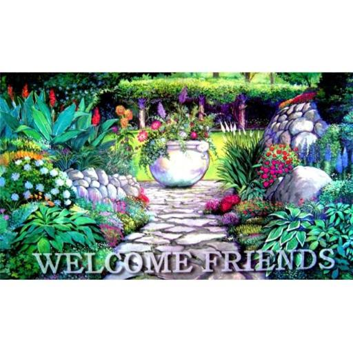 Custom Printed Rugs AWV087 Welcome Garden Gate 18 x 30 in. Doormat Rug - Blue & Green
