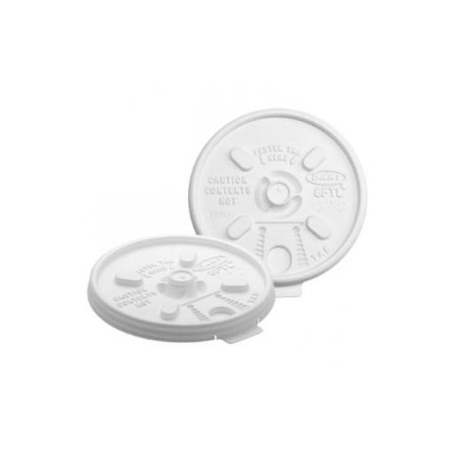 Lift Lock White Plastic Lids for Cups Ending in 8 - Case of 1000