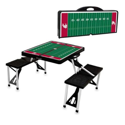 Picnic Time 811-00-175-635-0 Washington State Cougars Digital Print Portable Folding Picnic Table with Four Seats, Black